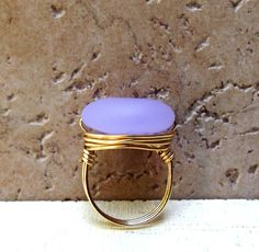 Lavender Sea Glass Ring:  Gold Wire Wrapped, Soft Pale Purple Beach Jewelry, Size 6.5 Only. $14.00, via Etsy.