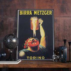 Birra Metzger Torino / 1900 Vintage Italian Beer by Manifesti