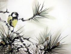 Japanese Ink Painting Ink art Asian art Sumi-e Suibokuga