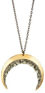 Brass & Pyrite Crescent Moon Necklace - Marly Moretti