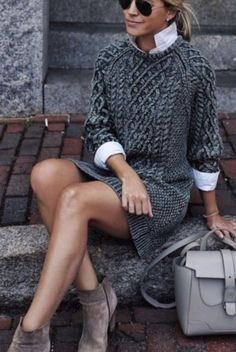 Fall Outfits To Copy This Season: grey cable knit sweater dress, grey booti. - - Fall Outfits To Copy This Season: grey cable knit sweater dress, grey booties, white high neck shirt, grey bag. The best fall fashion to get you i. Trendy Fall Outfits, Fall Outfits For Work, Winter Fashion Outfits, Fall Winter Outfits, Sweater Fashion, Autumn Winter Fashion, Fashion Clothes, Dress Winter, Fashion Ideas