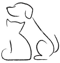 Image result for sketch of dog and cat sitting next to each other