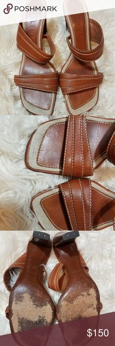 """*FLASH SALE* CELINE Brown Leather sandals 24 Hour Flash Sale!!  Gorgeous Celine Brown and tan leather strap sandals with beautiful white stitching and stacked wood heel.  *size runs a tad small*  Size 39.5 C  3.5"""" heel Celine Shoes Sandals"""