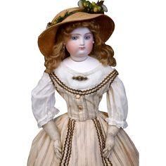 "Breathtaking 19"" Portrait Fashion Poupee Atributed to Lazare Frayon C. 1865~ All Original In Mint Condition!"