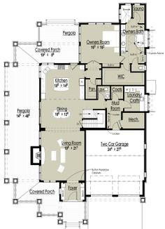 Main Floor Plan-interesting...seems like it needs different furniture size and arrangement to work.