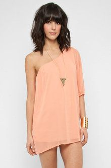 One shoulder chiffon mini dress in peach