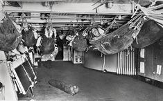 Le hamac est encore utilisé dans les marines de guerre du XXe siècle. (© DR)