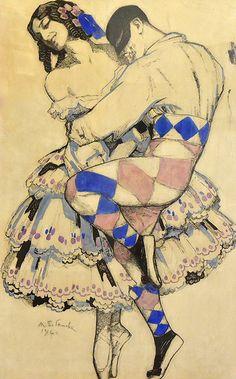 Mikhail and Vera Fokine in the ballet Carnival (music Robert Schumann), Mikhail Pavlovich, 1911