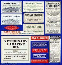 16 Old Tillamook Oregon Opium Pharmacy Narcotic & Antique Medicine Bottle Labels Other photo