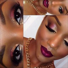 Cranberry and gold make up lpok  http://instagram.com/p/l8ePTuMyfD/