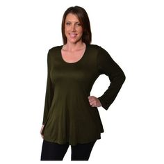 Women's 24/7 Comfort Apparel Women's Plus Size Less is More Long... ($30) ❤ liked on Polyvore featuring tops, tunics, green, tops & tees, plus size tops, womens plus tunics, womens plus tops, long sleeve tops and long sleeve scoop neck top
