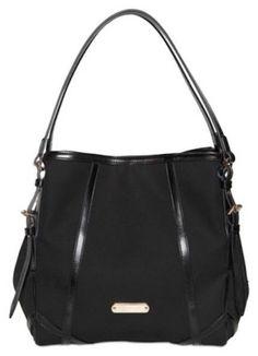 6ab16b4f5f9a 100% Auth BURBERRY Canterbury Nova Check Black Canvas Shoulder Bag Purse  95%New #