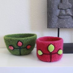 Felted Wool Bowls - Set of 2 in Watermelon