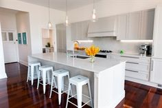 Bianco Drift graces the countertops and backsplash in this Qbic Living gem. Kitchen Benches, Kitchen Styling, Countertops, Kitchen Design, Interior Design, House, Inspiration, Backsplash, Kitchens