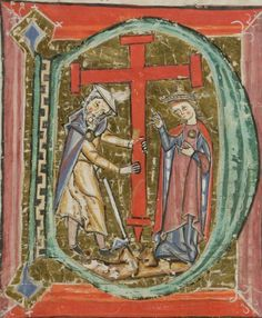 middle 13th century Austria?? - St. Urban Switzerland, Luzern (Lucerne), Zentral- und Hochschulbibliothek (ZHB Luzern) MS P.15.fol. - Cistercian Antiphonary (Sacred pieces) fol. 40r - initial D with Empress Helena and Judas Cyriacus  http://www.e-codices.unifr.ch/en/list/one/zhl/0015