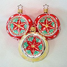 Poinsettia Indent Glass Christmas Ornaments Germany