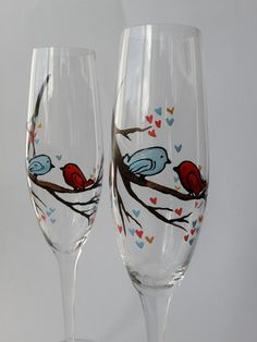 Hand painted Wedding Toasting Flutes Set of 2 Personalized Champagne glasses Love Birds on the branch. $49.00