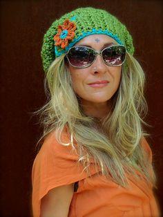 Green JUMBO SLOUCHY Beanie hat crochet slouch hat Groovy por GPyoga