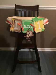 jungle themed first birthday highchair banner, I am one banner, one banner, safari banner Monkey Birthday Parties, Jungle Theme Birthday, Wild One Birthday Party, Safari Birthday Party, Baby Boy First Birthday, Birthday Fun, Birthday Ideas, Safari Party, Jungle Party