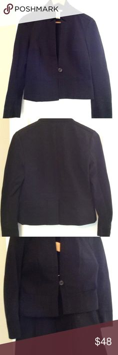 """DIANE VON FURSTENBERG BLACK KNIT TAILORED JACKET DIANE VON FURSTENBERG BLACK KNIT TAILORED JACKET Blazer Jacket: Size 8.. Tailored Jacket with button closure Flaredskirt.  This textured style is accented with inverted pleats & button accents. The Jacket Measures:17"""" across bust. In Excellent Pre Owned Condition. Cotton, Elastane Blend  NOTE: Matching Skirt: Size 6 also available seperately for sale...See picture.. Diane Von Furstenberg Jackets & Coats Blazers"""