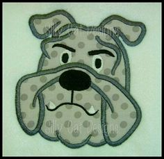 Bulldog Head Applique - 3 Sizes! | What's New | Machine Embroidery Designs | SWAKembroidery.com Silly Cat Designs