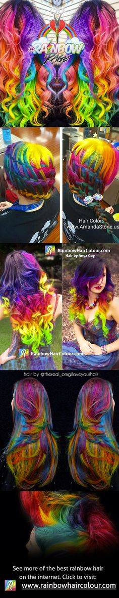 Rainbow hair rainbow rage my girl Savannah! Dye My Hair, Love Hair, Gorgeous Hair, Pelo Multicolor, Bright Hair, Colorful Hair, Coloured Hair, Unicorn Hair, Maquillage Halloween