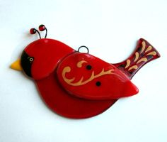 Fused Glass Bird Suncatcher (Red Cardnial Christmas Ornament). $12.00, via Etsy.