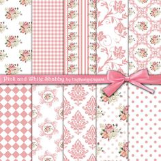 Pink and White Shabby - Instant Download, Floral Paper, Digital Scrapbook Paper, Decoupage Paper, Shabby Chic, Digital Pattern Collage Sheet...