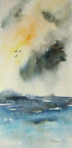 paloma montero acuarelas: Entre las nubes