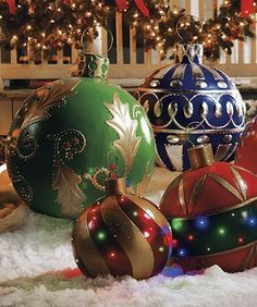 This Christmas, make your lawn festive and bright by decorating it with oversized ornaments