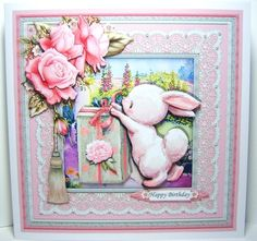 GIFT FROM BUNNY 7.5 Decoupage & Insert Mini Kit - CUP927621_68 | Craftsuprint Cute Cards, Decoupage, Card Making, Bunny, Printable, Kit, Craft, Birthday, Board