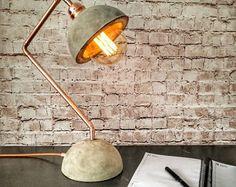 Industrielle Beton Kupfer Schreibtischlampe, konkrete Basis Lampenschirm, Schreibtischlampe, Edison-Schreibtischlampe, Industriebeleuchtung, Industrie Lampe
