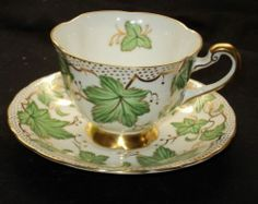 ROYAL CHELSEA GREEN Leaves POLKA DOTS TEA CUP AND SAUCER