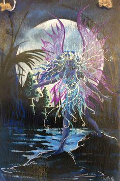 Moon Fairy. Acrylic on Slate wall hanger. £17.99
