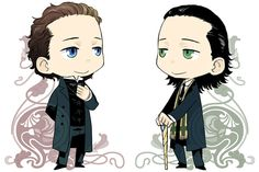 Hiddles and Loki in suit by tatsuri