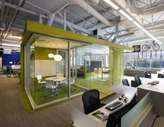 CPG Architects have designed the offices of cycling portfolio company Dorel Sports, located in Norwalk, Connecticut. CPG was retained by Dorel for the Visual Merchandising, Open Space Office, Office Spaces, Work Spaces, Sports Office, Warehouse Office, Office Pods, Innovative Office, Office Pictures