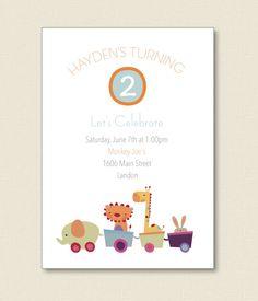 TRAIN SAFARI ANIMALS Kids Party Invitations by TutuRevue on Etsy, $21.50