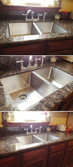 The Elkay signature double bowl stainless steel sink looks fantastic with this granite countertop in one of our customers' homes. #kitchen