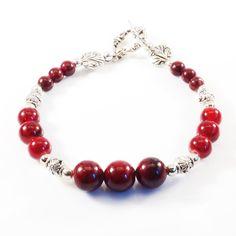 Women's Red Beaded Bracelet by DungleBees on Etsy