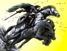 For Winterfell by SiriusSteve.deviantart.com  #GameOfThrones  Robb Stark & Grey Wind