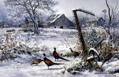 "A group of pheasants hang out by an old abandoned farm in the middle of winter in Scott Zoellick's Winter Refuge. This print is available unframed in size 9""x6"""