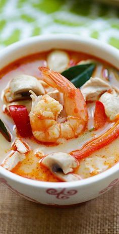 Thai Coconut Chicken and Shrimp Soup
