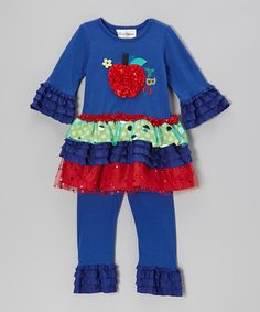 Take a look at this Blue & Red Apple Tiered Tunic & Leggings - Toddler & Girls by Rare Editions on #zulily today!