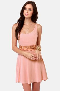 Check it out from Lulus.com! All jokes aside, we're just a fool in love for the I Mid You Not Blush Pink Lace Dress! Sheer lace panel at the waist is delightfully floral, while princess seams along the bodice keep a graceful shape. Woven fabric flows playfully from tank straps and scoop neck to a cheerful full skirt. Hidden back zipper. Lined. Model is wearing a size small. 100�0Rayon. Hand Wash Cold. Made with Love in the U.S.A.