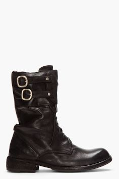 || officine creative black matte leather buckled boots