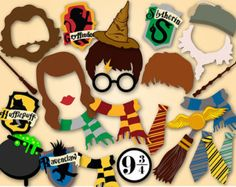 Harry Potter Birthday Party Photo Booth Props di LetsGetDecorative