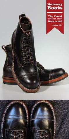 MANSWAY ALL NEW DRESS BOOT MADE with BROWN LEATHER and LEATHER LACE and VIBRAM SOLE www.mansway.com