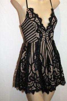 05d85366fcc5 Blossom Brand Black Nude Lace Divine Romper Playsuit Size 8 BNWT  TQ22