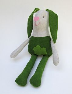 Saint Patrick's Day bunny. Kids stuffed rag bunny. Stuffed bunny.Stuffed toy. With hand embroidered face. Green and beige