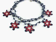 Crochet Necklace Star Crochet Necklace Crocheted Jewelry Turkish Oya Layered Necklace Beaded Necklace Handmade Gift For Her Statement Neckla